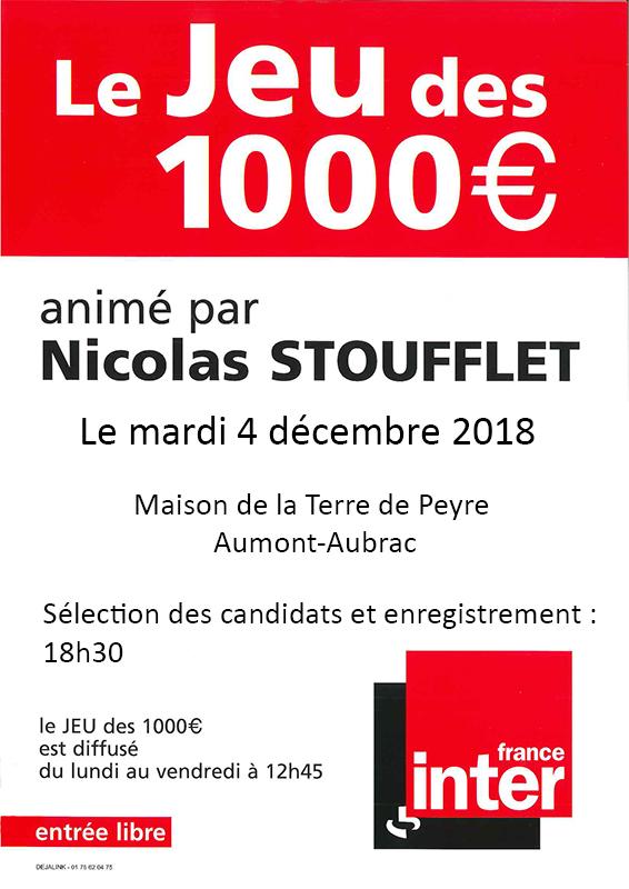 Affiche jeu des 1000 Euros